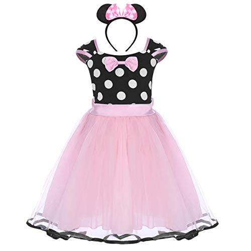 IWEMEK Bambino Minnie Abito Ragazza Costume da Minnie Vestito Principessa Balletto Tutu Danza Body Ginnastica Polka Dots Cerchietto con Orecchie per Carnevale Festa di Compleanno Abito Rosa 3 Anni