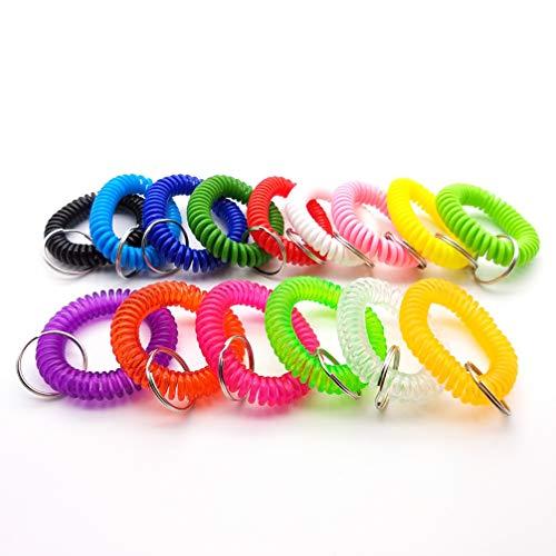 jojofuny 20 pulseras de goma multifuncionales con cadena para llavero, pulsera en espiral para correr, natación y deportes