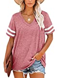 MOLERANI T-Shirts d'été pour Femmes à Manches rayées et col en V(Rose,M)