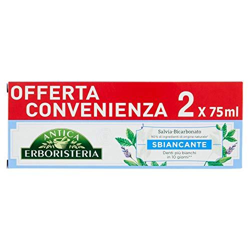 Antica Erboristeria, Dentifricio Sbiancante Antimacchia con Ingredienti Naturali, Gusto Salvia e Bicarbonato, 150 ml
