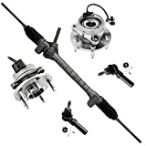 Detroit Axle - Power Steering Rack and Pinion w/Outer Tie Rods and Front Wheel Hub Bearings Replacement for Chevy Cobalt HHR Pontiac G5 w/ABS - 5pc Set