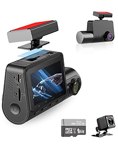 WOLFMEN Dashcam Auto Vorne Hinten,3 Lens Dashcam mit Vorne Camera, Innerhalb und Hinten, Weitwinkelobjektiv + Dual 1080P, Infrarot Nachtsicht, Loop-Aufnahme, G-Sensor, Parkmonitor,Bewegungserkennung