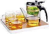 Hervidor Tetera Taza Tetera Taza Elegante Filtro de Prensa Taza de té Tetera de Vidrio Separación de té Ceremonia del té Taza de té Taza de té (Tamaño: Juego de 775 ml) Exquisito