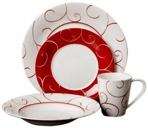 Red Vanilla FP012-116 16-Piece Panache Rouge Dinner Set