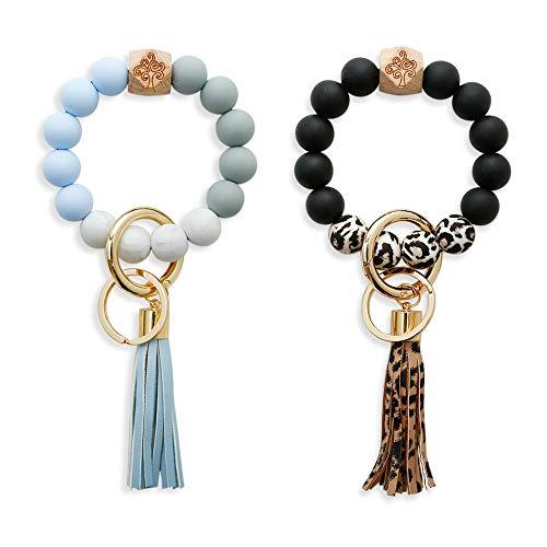 Wrist Keychain Bracelet 2 Pairs Tree of Life Totem Silicone Bead Car Key Ring Wristlet for Women Girls by XSBQBC (Style05)