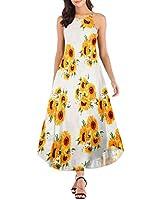 Haola Women's Floral Print Summer Sleeveless Casual Loose Maxi Dress Beach Spaghetti Strap Long Tank Dresses Sunflower Print M