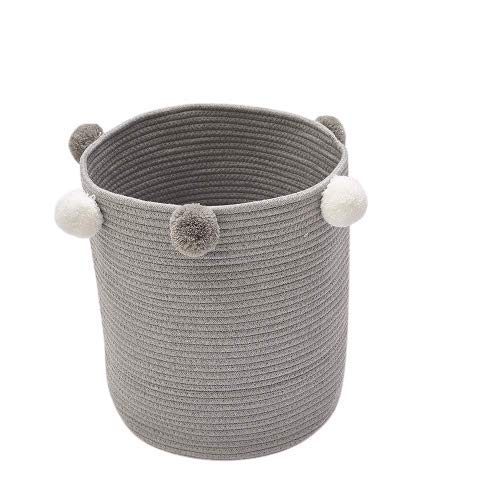AMZTOP Cotton Rope Basket Woven Laundry Blanket Toy Basket Organizer Living Room Décor Home Collapsible 14.5'X12.5', Basket for Toddler Blanket, Kids Toy Nursery Laundry Basket Grey