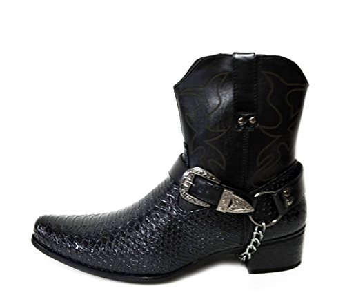 Alberto Fellini Mens Faux Leather Cowboy Western-Inspired Ankle Boots (Japan) Black 7.5