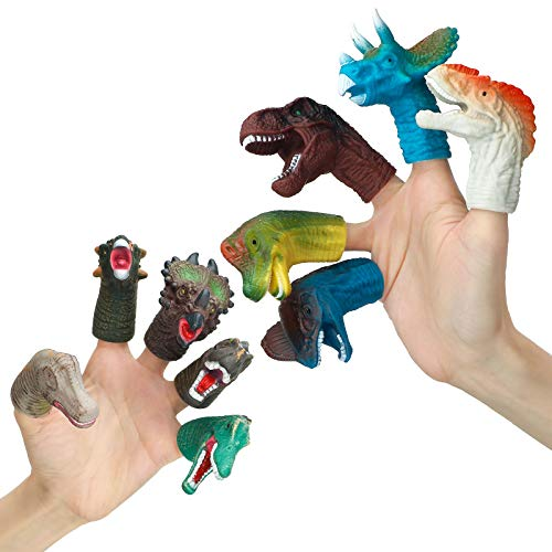 Dinosaur Toys, Finger Puppets 10pcs, Rubber Dinosaur Head Finger Puppets Toys Set, Bath Toys for Kids