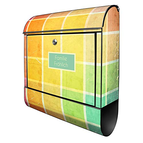Banjado Design Briefkasten personalisiert mit Motiv Bunte Glasbausteine | Stahl pulverbeschichtet mit Zeitungsrolle | Größe 39x47x14cm, 2 Schlüssel, A4 Einwurf, inkl. Montagematerial