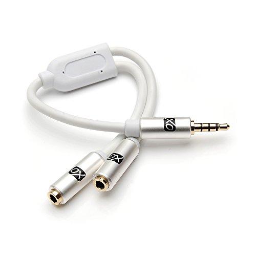XO - 3.5mm a 2 x 3.5mm Y Blanco Cable - Auriculares Mic Audio Y divisor para auriculares con auriculares / micrófono separados - Estéreo 3.5mm macho a gemelo 3.5mm hembra mono adaptador para compartir música