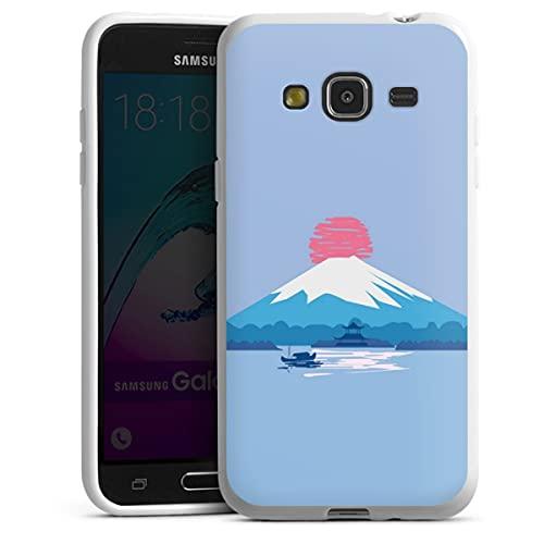 Silikon Hülle kompatibel mit Samsung Galaxy J3 Duos 2016 Hülle weiß Handyhülle Chinesisch Berg Sonne