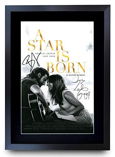 HWC Trading A Star Is Born Bradley Cooper/Lady Gaga Gifts - Póster impreso con autógrafo para los fans de los recuerdos de película, enmarcado A3
