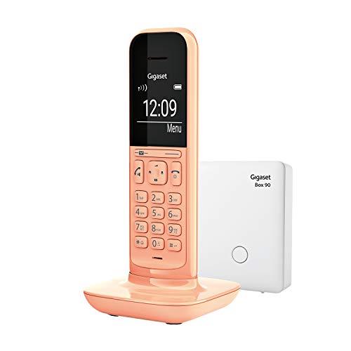 Gigaset CL390, Schnurloses Telefon, 2 Akustik-Profile, extra große Anzeige im Wahlmodus & Telefonmenü, Schutz vor unerwünschen Anrufen, inkl Basisstation Box 90, inkl Basisstation Box 90, cantaloupe