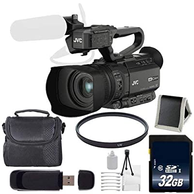 JVC GY-HM200 GYHM200 4KCAM Compact Handheld Camcorder (International Model) + 32GB Memory Card + Carrying Case + 62mm UV Filter + Kit Bundle by JVC