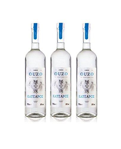 3x 700ml Ouzo Tirnavou von Katsaros - griechischer Traditions Ouzo Tresterbrand Anis Schnaps Destillat 3er Set + 10ml Olivenöl Probiersachet
