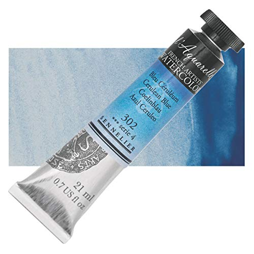 Sennelier L'Aquarelle French Watercolor, 21ml Tube, S4 Cerulean Blue