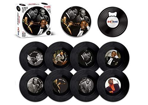 Jazz Legends – 8-teiliges Mini-Vinyl-Schallplatten-Untersetzer-Set mit Dose und magnetischem Flaschenöffner von Retro Musique