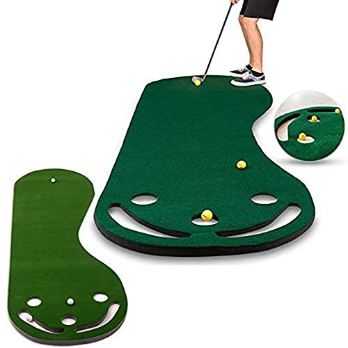 QLIGHA Alfombra De Práctica De Golf Portátil, Pies Grandes, Verde, Interior, 3 Agujeros, Alfombra De Ayuda para Práctica De Golf con Almohadilla De Bola Adhesiva