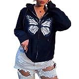 Sudadera con capucha con cremallera para mujer de manga larga con estampado de letras y ajuste holgado Y2K E-Girl Spring Fall Pullover Streetwear