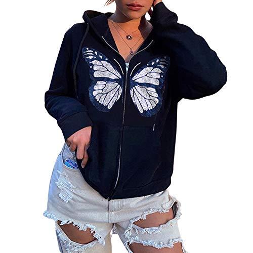 I3CKIZCE Sudadera de mujer con cremallera y cuello en V, elegante, informal, Y2K, estilo vintage, Negro , S