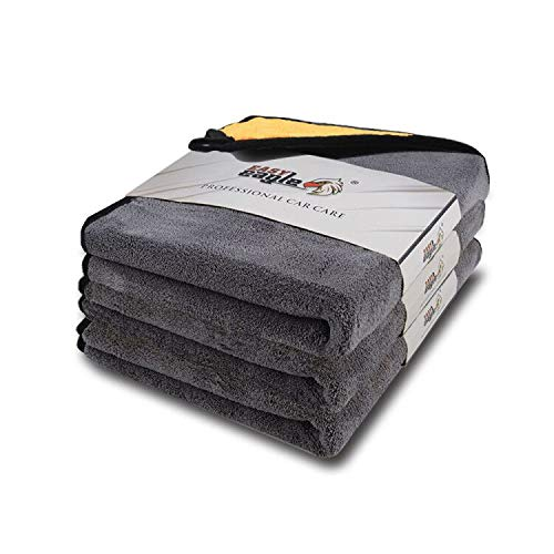 EASY EAGLE Toallas de Microfibra para Limpieza de Autos 1200gsm Súper Absorbente Cuidado del automóvil Paños de Microfibra Coche 38x45CM 3 Unidades