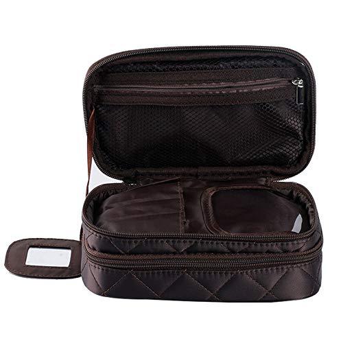 Sac de lavage double sac de maquillage imperméable à l'eau sac de collecte en nylon portant boîte de maquillage Marron