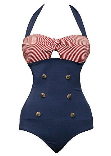 Bslingerie® Sexy Damen Retro Bademode Übergröße Halfter einteiliger Badeanzüge Monokini (L, Rot-Blau)