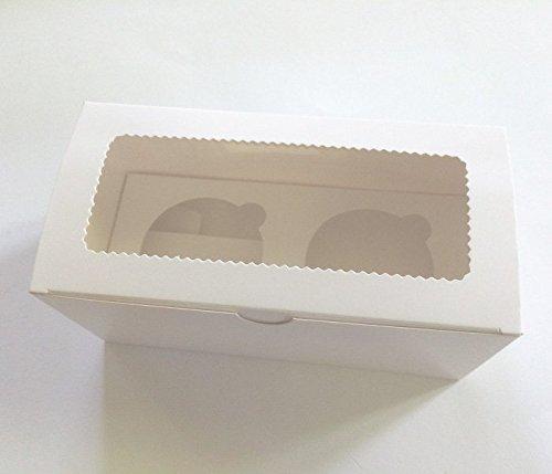 25 Stk Cupcake Muffin Box 2er Aufbewahrungsbox Geschenkbox Karton Verpackung inkl. Einlage