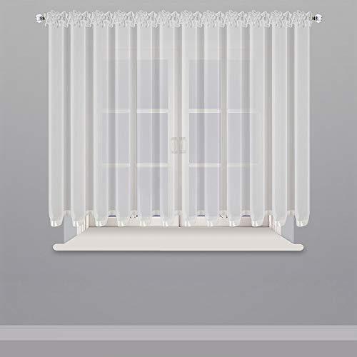 Schöne Fertiggardine für 150-300cm breite Fenster Gardine aus Voile mit Faltenband Kräuselband Weiß 150x400 cm LB-80 (150 x 400 cm)