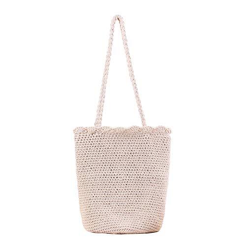 MoGist - Bolsa de paja simple de un solo color, bolso tejido, con cordón, hecho a mano, para verano, playa, ratán, bolso, ratán, Blanco, 32*40 cm