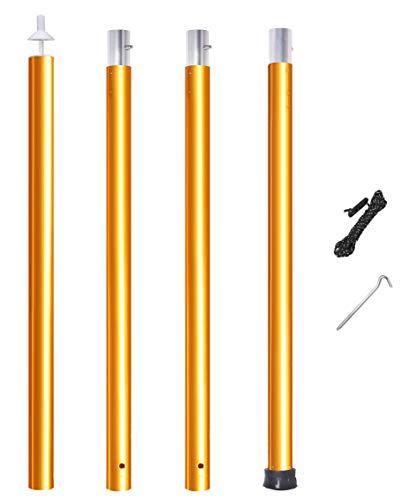 テントポール アルミ タープポール 直径33mm 極太タイプ 4本連結 調節 軽量 分割式 プッシュボタン式 148cm-288cm 1本/2本入り ペグ&ロープ付 収納袋付 アウトドア キャンプ キャノピー (オレンジ 1本)