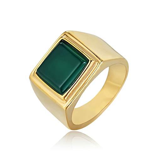 Aienid Men's Square Steel Wedding Ring Green green