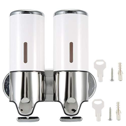 Fdit Dispensador de jabón líquido montado en la Pared a Prueba de Agua Aspecto de Moda Aplicación Amplia Herramienta de dispensación de champú de Ducha Manual para baño(Tazas Dobles)