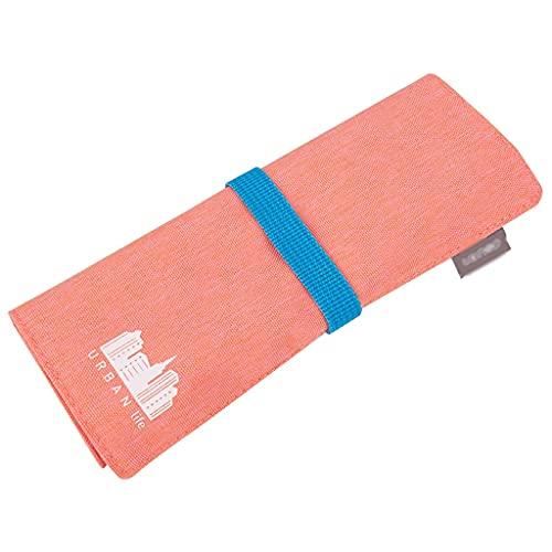ZANZAN Estuche de lápices de poliéster de gran capacidad para guardar papelería, multifunción, estuche para lápices, bolsa de cosméticos para la escuela, oficina, viajes, color rosa