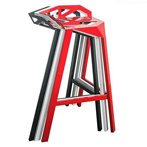 KTSWP Moderne minimaliste décontracté Maison Tabouret Haut élégant café Bar Table et chaises Design géométrique créatif Chaise en Fer forgé,Red