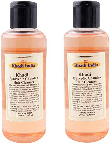 Glamorous Hub Khadi India Champú/limpiador para el cabello ayurvédico natural Chandan (paquete de 2 x 210 ml) (el embalaje puede variar)