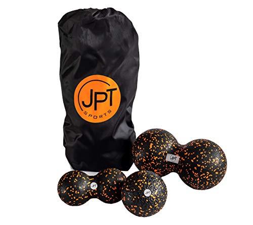 JPTsports® Faszienball-Set inkl. PDF Anleitung & Tragetasche | Massageball-Set aus Einzelball (10cm) & Duoball (8cm & 12cm)