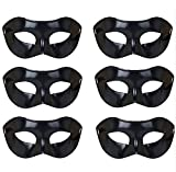 Masquerade Masks for Men Bulk, Antique Vintage Carnival Mardi Gras Halloween Prom Ball Party Masks (6 Piece Pure Black)