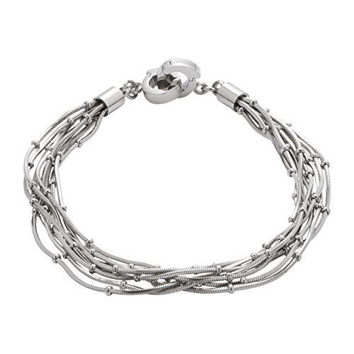 JEWELS BY LEONARDO DARLIN'S damesarmband Noale, roestvrij staal met kleine bolletjes en mini-clip, Clip & MIX-systeem, lengte 185 mm, 016509