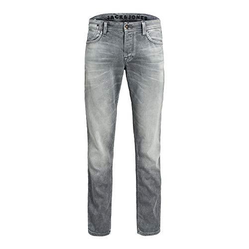 JACK & JONES Male Slim/Straight Fit Jeans Tim Leon GE 067 Indigo Knit 3132Grey Denim