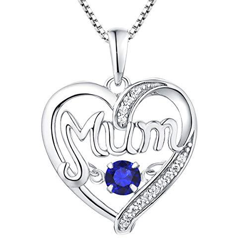 YL Mama Kette 925 Sterling Silber mit September Geburtsstein Spinellblau Herzschlag Herz Liebe Anhänger für Damen Mutter, 45-48 cm