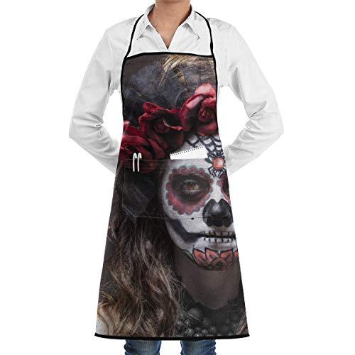 Lawenp Delantal Mujer Disfraz De Halloween Maquillaje De Calavera Sosteniendo Chefs Delantal De Cocina para Mujeres Nias