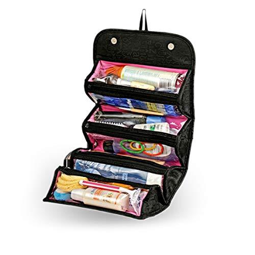 takestop® Beauty Case YF BORSELLO Trucco Make UP Sacchetto Kit da Viaggio ORGANIZZATORE Gioielli Nero Multifunzione Roll ON
