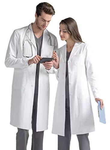 Bata de Laboratorio Profesional para Hombres y Mujeres, Bata de médico Blanca Unisex, Ajuste clásico, Manga Larga, 3 Bolsillos (Blanca, Hombres M/Mujer L)