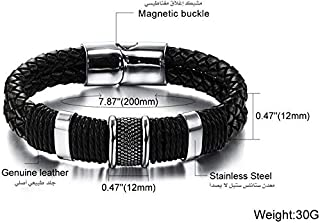 Leather Bracelet with Stainless steel, Silver for Unisex