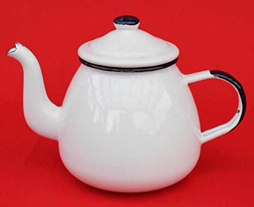DanDiBo Teekanne 582AB Weiß 0,75 L emailliert 14 cm Wasserkanne Kanne Kaffeekanne Emaille Nostalgie