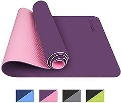 TOPLUS Gymnastiekmat, Yoga Mat Yoga Mat Gewatteerd & Non-Slip for Fitness Pilates & Gymnastiek met Strap - Afmetingen 183cm Lengte 61cm Breedte - Paars & Roze*