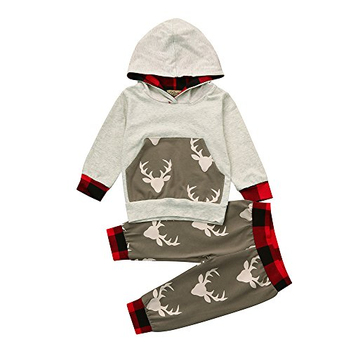 Hirolan Baby Strampler Neugeboren Babykleidung Säugling Baby Junge Mädchen Hirsch Pfeil Kapuzenpullover Lange Hülse Tops Täglich Hose Mode Outfits Kleider Set (70cm, Grau 4)