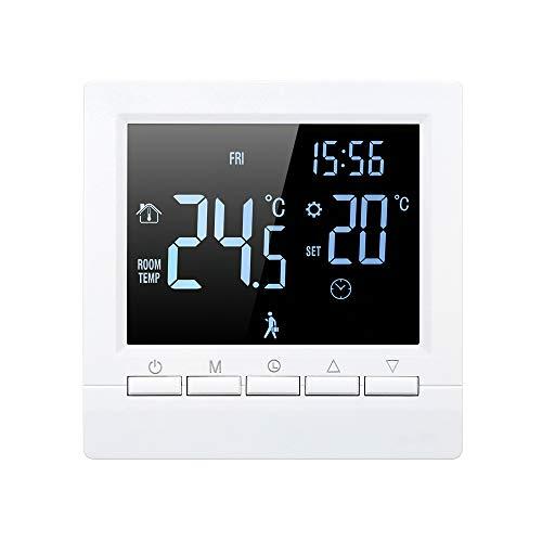 Decdeal Termostato Inteligente Controlador Digital de Temperatura Pantalla LCD Táctil Semana Programable Termostato de Calefacción de Piso Eléctrico